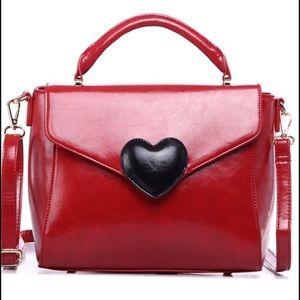 Pink Haley Heart Satchel Bag in Red